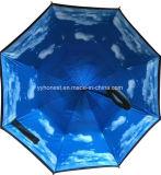 Nuova ombrello invertito di doppio strato C maniglia antivento impermeabile diritta