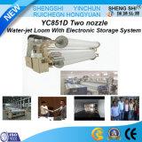 Telar del jet de agua de dos boquillas con el sistema electrónico del almacenaje