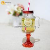 Farbiges Stamm-Maurer-Glas-trinkendes Glas mit Stroh-Griff