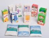 Materiales laminados sobre papel usando para el acondicionamiento aséptico de la leche y del jugo