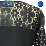 Black Lace Shoulder-Perspective Mesh dentelle robe fashion Mesdames
