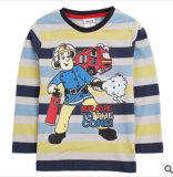 La nouvelle de l'automne de 2014 Garçon pompiers Bande à manchon long imprimé T-Shirts Vêtements pour enfants rendent non doublés T-shirt du vêtement supérieur