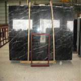 白の黒い大理石は中国黒いMarquinaの大理石を張りめぐらす