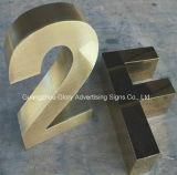 brief van het Roestvrij staal van 3D Teken van de leiden- Brief de Spiegel Opgepoetste