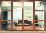 오스트레일리아 표준 목제 곡물 색깔 두 배 유리를 가진 알루미늄 여닫이 창 문
