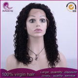 Curly medio pelo Virgen peruana peluca de encaje completo