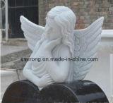 Angelo bianco che intaglia Headstone con la lapide del Headstone del monumento del granito del nero del cuore per il funerale