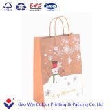 2016 La alta calidad personalizado reciclable bolsa de papel Kraft impreso de Navidad