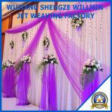 優雅なオーガンザはカーテンの結婚式の装飾の背景幕をおおう
