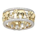 Кольца слона 3D чисто медного античного цвета золота удачливейшие