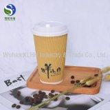 Wand-heißer Kaffee-Papiercup der Kräuselung-8oz für heißes Getränk mit Kaffee-Kappe und Stirer Strohen
