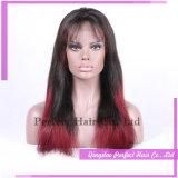 Longue perruque noire et rouge droite lumineuse de cheveux humains