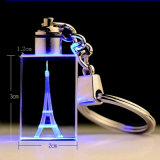 Anello portachiavi di cristallo di cerimonia nuziale del regalo su ordinazione LED di favore, anello chiave di vetro
