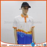 印刷の長い袖のポロシャツ