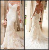 Vestido de casamento longo completo S201742 do laço da sereia de Vestidos dos vestidos nupciais das luvas