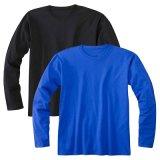 Langer Hülsen-Ebenen-Baumwollshirt-Großverkauf passt Druck-Form-Firmenzeichen-T-Shirt an