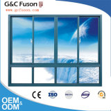 Guichet de glissement en aluminium en verre commercial de guichet de glissement double