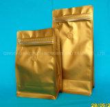 Los envases de oro mate té suelto embalaje ecológico de la bolsa de papel de aluminio para el Pack de té y café perfumadores