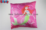 Round Stuffed Pillow with Embroidery Little Mermaid Girl