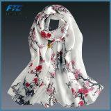 Горячими машина надувательства напечатанная шалями подшивая шарфы женщин 100% Silk