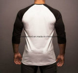 Camiseta larga apta de la gimnasia de la funda de la carrocería del Spandex del algodón de los hombres