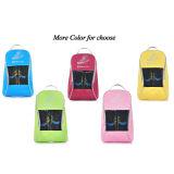 ジッパーの閉鎖(パック5、青くまたはピンクまたは黄色いまたは赤または緑)が付いている携帯用ナイロン旅行靴袋