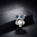 Broche grande del Pin de la joyería de la manera de la aleación de la perla del Rhinestone del ojo del buho lindo