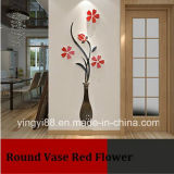 Vente en gros de décoration en cristal acrylique Art Wall Decor / Sticker Vase ronde