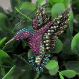 Aves coloridas de fantasia Rhinestone Prateado Broche
