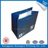 Cor azul saco de compra impresso do papel da alta qualidade