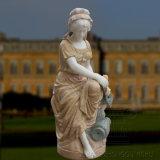 De openlucht Marmeren Fontein van het Water van het Beeldhouwwerk van de Tuin met Mooie Dame Statue