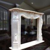 Estilo francês lareira em mármore branco com boa qualidade Hand-Carved, Preço competitivo