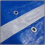 Le bleu et blanc PE bâche avec oeillets