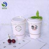 double cuvette de café estampée par logo remplaçable bon marché du mur 400ml avec le couvercle