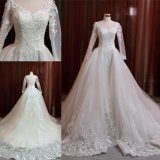 O vestido de casamento nupcial muçulmano do vestido de Ballgown da luva longa veste Z11116