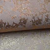 Le polyester d'estampage d'or de la chaleur imitent le tissu en cuir pour des chaussures de sacs