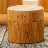 Vaso della crema di figura rotonda con le coperture di bambù