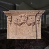 Mano su due livelli di lusso che intaglia la mensola del camino del camino del marmo della scultura del Li