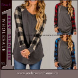 2018 Spring Fashion Mesdames Tops Plaid chemisier occasionnels de coton (TMG7242)