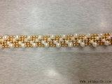 금 사슬 레이스 트리밍 진주 모조 다이아몬드 둥근 구슬로 만드는 의복 부속품