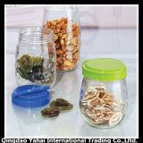 4 [كيتشنور] محدّد زجاجيّة تخزين مرطبان مع غطاء بلاستيكيّة