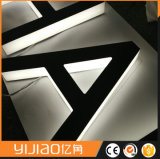 Panneau de lettre en métal en acier inoxydable, panneau de signalisation arrière en LED