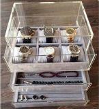 De acryl Lade van Juwelen met het Dienblad van het Fluweel, de Doos van Juwelen en Organisator
