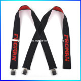 Logo personnalisé Stamped X Shape Leather Fittings Elastic Suspender