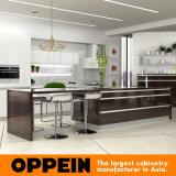Gabinetes de cozinha elevados modernos da laca do lustro da venda quente de Oppein (OP16-L09)