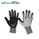 Нитриловые песчаных вырезать устойчивые перчатки En388 5 уровня ANSI уровня 4