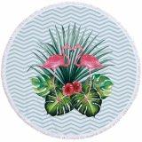 Feuille de fleur de la conception de la plage en microfibre ronde Tapis Tapis de sol châle de plein air