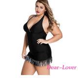 Schwarze weiße Franse-Curvy einteiliges Badeanzug-Kleid
