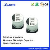 condensador electrolítico de aluminio de la impedancia ultrabaja de 1000UF SMD