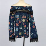 Леди переднего устройства обвязки сеткой в горловину Bell гильзы с цветочным рисунком печать шифон блуза